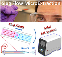 A new technique called slug flow microextraction makes it possible to quickly detect the presence of drugs or to monitor certain medical conditions using only asingle drop of blood or urine. The technique involves drawing aspecimen into aglass capillary that also contains an organic solvent and rocking the capillary back and forth several times to extract target molecules from the biological sample into the solvent. Credit: Purdue University image/Weldon School of Biomedical Engineering