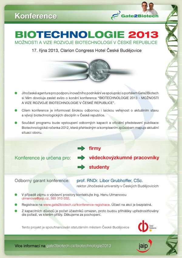Biotechnologie 2013 - mezinárodní konference